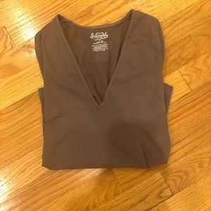 Free People V neck brown top. Size XS